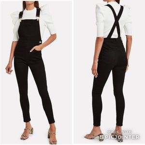 WeWoreWhat High Rise Skinny Overalls Charcoal